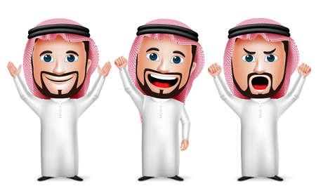 3D realista Arabia árabe Carácter hombre de la historieta Raising Hands Up Gesture Wearing Thobe aislada en el fondo blanco. Conjunto de ilustración vectorial. Vectores
