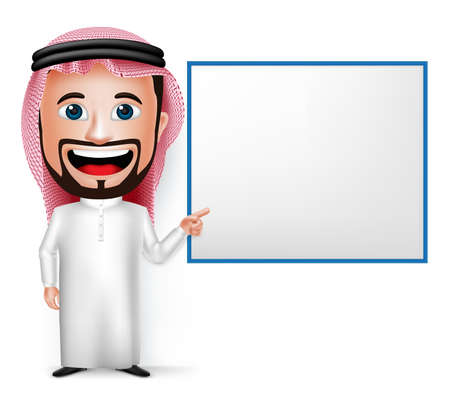 3D Realistic Saudi Arab Man Cartoon Character Showing Blank White Board Wearing Thobe Isolated in White Background. Vector Illustration.