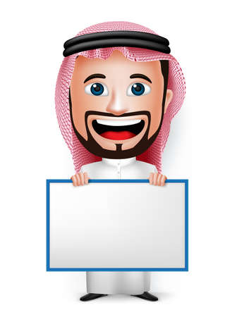 thobe: 3D Realistic Saudi Arab Man Cartoon Character Holding Blank White Board Wearing Thobe Isolated in White Background. Vector Illustration.