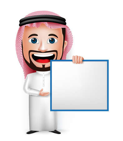 presentation people: 3D Realistic Saudi Arab Man Cartoon Character Holding Blank White Board Wearing Thobe Isolated in White Background. Vector Illustration.