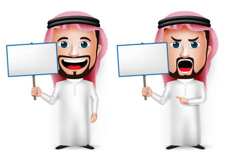 angry cartoon: 3D Realistic Saudi Arab Man Cartoon Character Holding Blank White Board Wearing Thobe Isolated in White Background. Set of Vector Illustration. Illustration