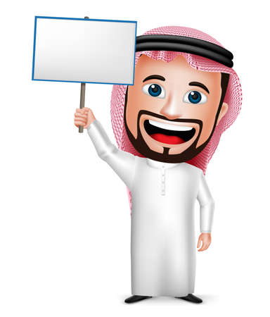 thobe: 3D Realistic Saudi Arab Man Cartoon Character Holding Blank Placard Wearing Thobe Isolated in White Background. Vector Illustration. Illustration