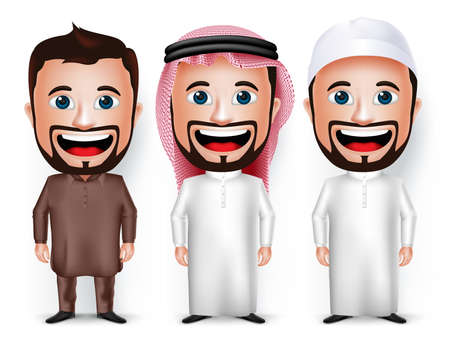 pakistani: Set of 3D Realistic Cartoon Character Dress for Saudi Arabian and Pakistani Isolated in White. Vector Illustration.