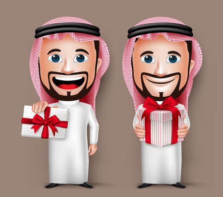 thobe: 3D Realistic Saudi Arab Man Cartoon Character Holding and Giving a Red Beautiful Gift Wearing Thobe. Set of Vector Illustration.