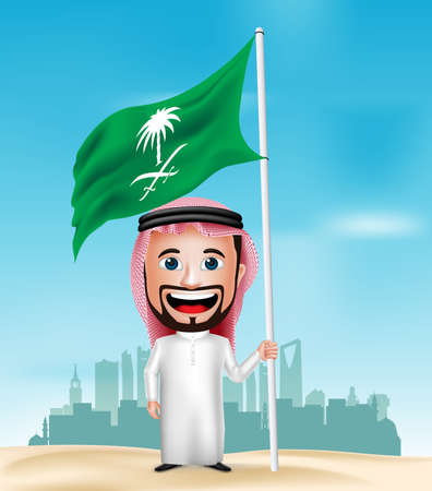 3D Realistic Saudi Arab Man Cartoon Character Holding and Waving Flag with Saudi Arabia Buildings in Background. Vector Illustration. Vectores