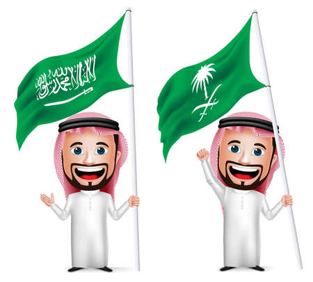 3D Realistic Saudi Arab Man Cartoon Character Holding and Waving Saudi Arabia Flag for National Day  Isolated in White. Vector Illustration. Vectores