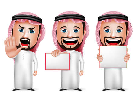 3D Realistic Saudi Arab Man Cartoon Character  Holding Blank White Board Wearing Thobe Isolated in White Background. Set of Vector Illustration. Ilustração