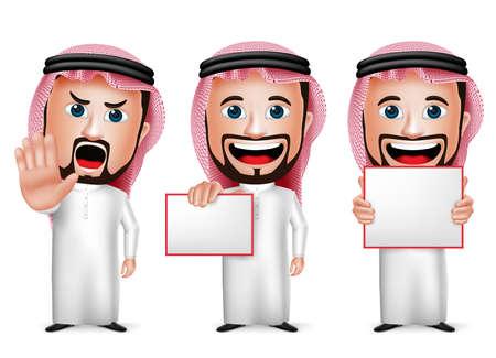3D Realistische Saoedi-Arabische Man Cartoon karakter houden lege witte raad dragen Thobe geïsoleerd in witte achtergrond. Set van vector illustratie. Stock Illustratie