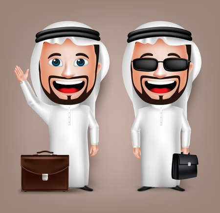 thobe: 3D Realistic Saudi Arab Man Cartoon Character with Different Pose Holding Briefcase Wearing Thobe Isolated in White Background. Set of Vector Illustration.