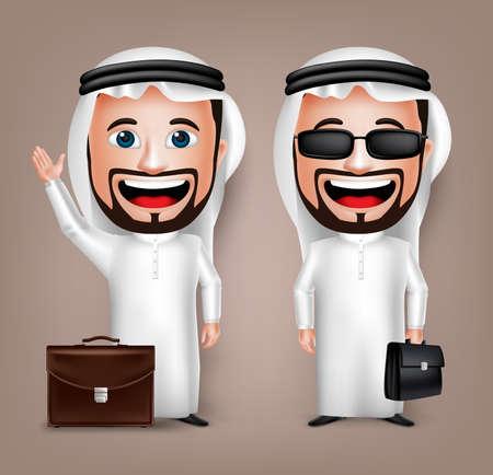 3D Realistische Saoedi-Arabische Character Man van de cartoon met verschillende vormen bedrijf Briefcase dragen Thobe geïsoleerd in witte achtergrond. Set van Vector Illustration. Stock Illustratie