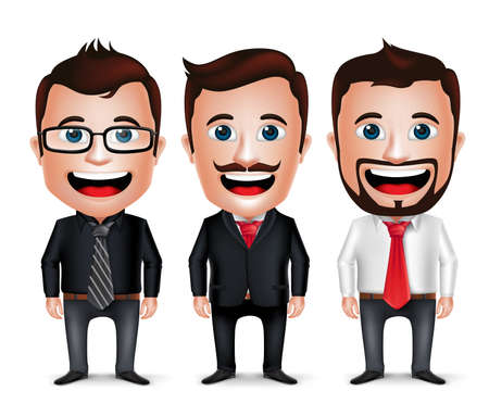 3D Realistic Businessman Cartoon Character with Different Business Attire and Necktie Isolated in White Background. Set of Vector Illustration.