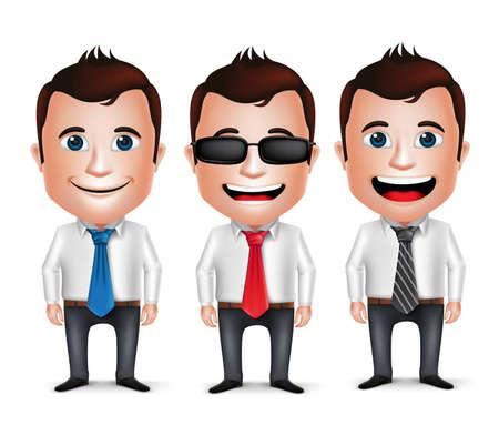 hombre caricatura: 3D personaje de dibujos animados del hombre de negocios realista uso de manga larga traje del asunto y corbata aislados en el fondo blanco. Conjunto de ilustraci�n vectorial. Vectores