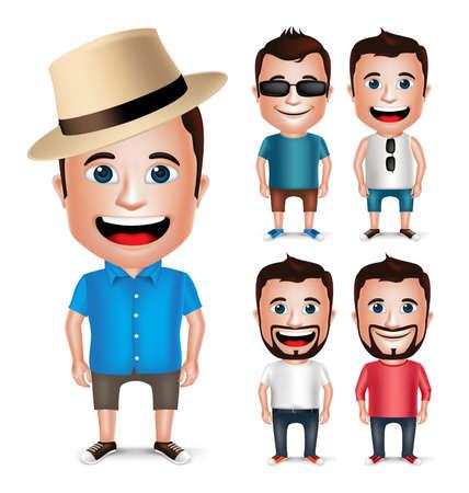 caras felices: 3D realista del personaje de dibujos desgasta joven Verano vestido casual para la manera aislado en el fondo blanco. Conjunto de ilustración vectorial. Vectores