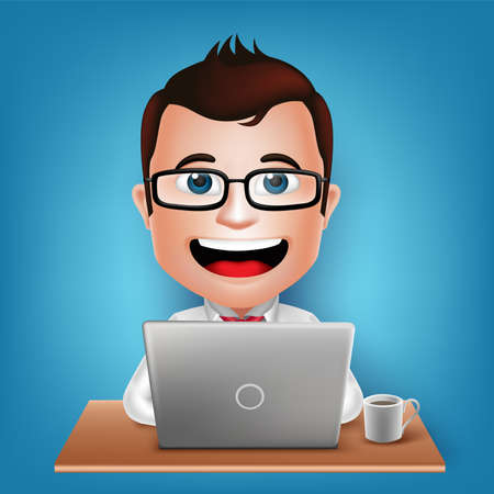 best employee: 3D Realistic Busy Businessman Cartoon Character Sitting Working in Laptop with Coffee in Table Vector Illustration.