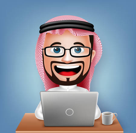 3D Realistic Saudi Arab Businessman Cartoon Character Sitting Working in Laptop with Coffee in Table Vector Illustration. Ilustracja
