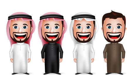 3D Realistic Saudi Arab Man Cartoon Character Wearing Different Traditional Thobe Dress and Gutra Isolated in White Background. Vector Illustration. Ilustração