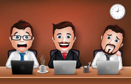 patron: Conjunto de realista Carácter del hombre de negocios 3d que trabaja en el escritorio de oficina mesa con ordenador portátil. Ilustración vectorial