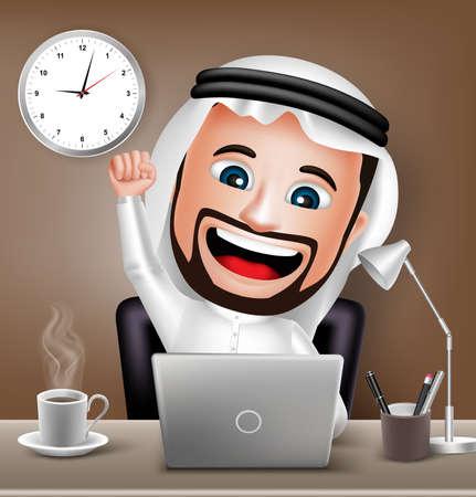 リアルな 3 D サウジアラビア アラブ男文字ビジネス オフィス デスク テーブル挙手のラップトップに取り組んでいます。ベクトル図