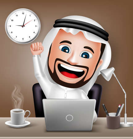 working hour: Realistic 3D Saudi Arab Man Character Working on Business Office Desk Table with Laptop Raising Hand. Vector Illustration