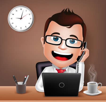 young business man: Realistic 3D Businessman Character Working on Office Desk Table with Laptop Talking on Telephone. Vector Illustration