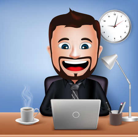Realistic 3D Businessman Character Working on Office Desk Table with Laptop. Vector Illustration