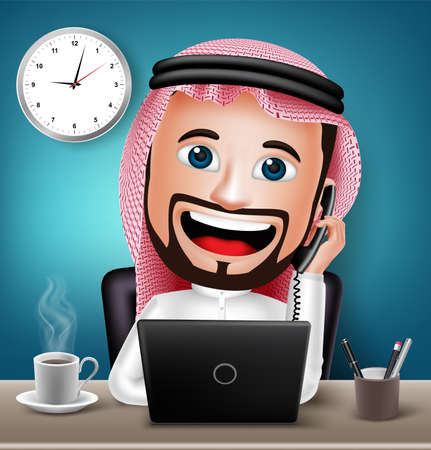 Realistic 3D Saudi Arab Man Character Working on Office Desk Table with Laptop Talking on Telephone for Business. Vector Illustration