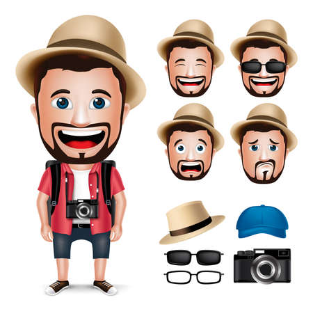 3D Realistic Tourist Man Character Wearing Casual Dress with Camera and Set of Head Facial Expression isolated in White Background. Vector Illustration Vettoriali