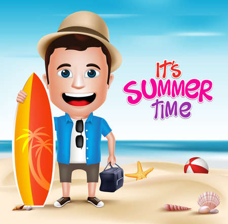 3D Realistic Man Character Wearing Summer Outfit Holding Surfing Board in Beach Background. Vector Illustration Illusztráció