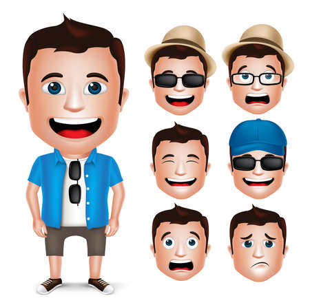 3D Realistic Man Character Wearing Casual Dress with Set of Head Facial Expression Isolated in White Background. Vector Illustration.