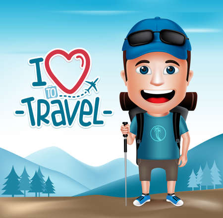 happy face: 3D Realistic Tourist Man Character Wearing Hiker Outfit Mountain Climber with Mountain Background.  Vector Illustration