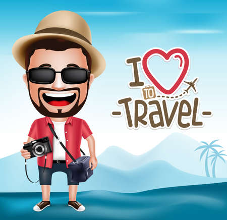 tourist: 3D Realistic Tourist Man Character Wearing Photographer Outfit with Mountain Background.  Vector Illustration