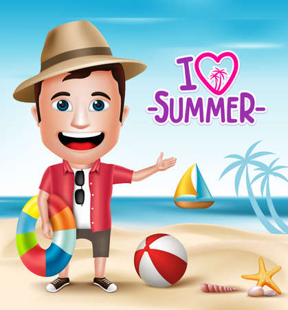 3D Realistic Tourist Man Character Wearing Summer with Beach Sea shore Background.  Vector Illustration Ilustração