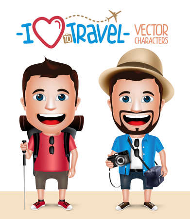 3D Realistic Tourist Man Character Wearing Casual Dress with Camera and Hiker Mountain Climber Isolated in White Background. Set of Vector Illustration Ilustracja