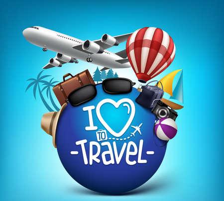 여행: 3D 현실적인 여행 및 여름 요소와 전세계 투어 포스터 디자인. 벡터 일러스트 레이 션 일러스트