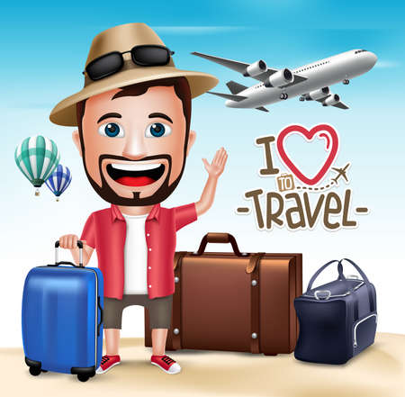 tourist: 3D Realistic Tourist Man Character Wearing Summer Outfit with Set of Bags and Airplane.  Vector Illustration