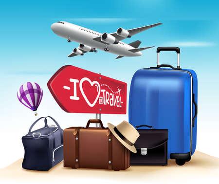 여행: 3D 현실적인 여행 및 집합 투어 디자인 및 가방 및 비행기의 컬렉션. 벡터 일러스트 레이 션 일러스트