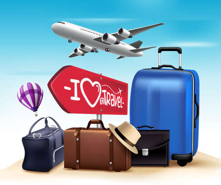 3D Realistic Travel and Tour Design with Set and Collections of Bags and Airplane. Vector Illustration Ilustração