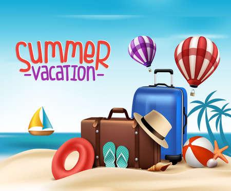 3 D 現実的な夏休みビーチ海岸で袋とポスター デザイン。ベクトル図
