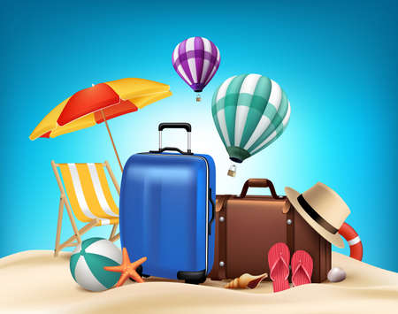 sunny beach: 3D Realistic Summer Vacation Poster Design with Bags in Beach Sea Shore. Vector Illustration