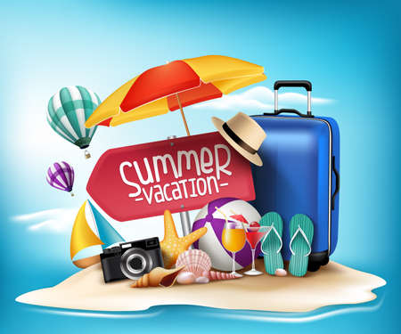 3D Realistic Summer Vacation Poster Design for Travel in a Sand Beach Island in Horizon. Vector Illustration Vectores