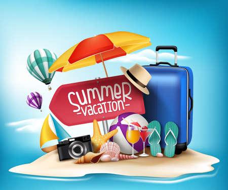 summer: Diseño 3D realista vacaciones verano impresiones de viaje en una playa de la isla de arena en el horizonte. Ilustración vectorial
