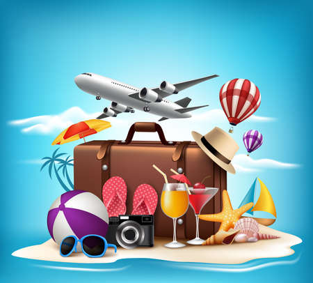 tourism: 3D Realistic Summer Vacation Design for Travel in a Sand Beach Island in Horizon with Summer Items. Vector Illustration