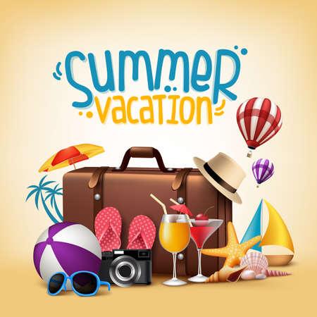 編集可能な要素で旅行のための 3 D 現実的な夏休みポスター デザイン。ベクトル図