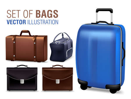 shinning: Set of 3D Realistic Traveling Bags and Briefcase for Design Elements. Vector Illustration