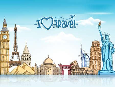 Fundo do curso e do turismo com os marcos famosos do mundo em 3d realísticos e elementos do desenho de esboço. Ilustração vetorial Ilustración de vector