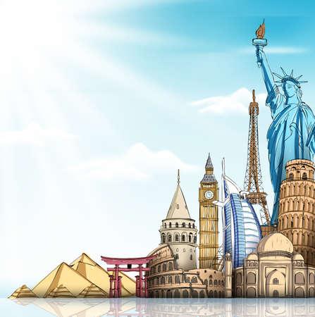 Reizen en Toerisme Achtergrond met Beroemde World Landmarks in 3d Realistisch en Sketch Drawing Elements. Vector Illustratie