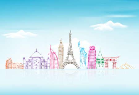 travel: 旅行和旅遊與世界著名的地標在3D寫實素描繪圖元素的背景。矢量插圖