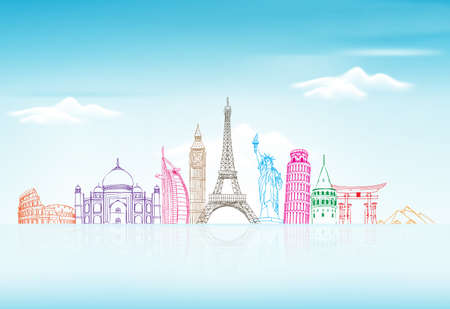 lijntekening: Reizen en Toerisme Achtergrond met Beroemde World Landmarks in 3d Realistisch en Sketch Drawing Elements. Vector Illustratie