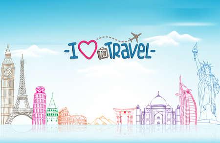 viagem: Viagens e Turismo Fundo com famosos marcos mundo em 3D realista e desenho de esbo�o Elements. Ilustra��o vetorial