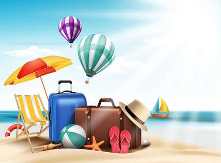 여행: 편집 비치 요소와 3D 현실적인 여름 여행 및 휴가 포스터 디자인. 벡터 일러스트 레이 션